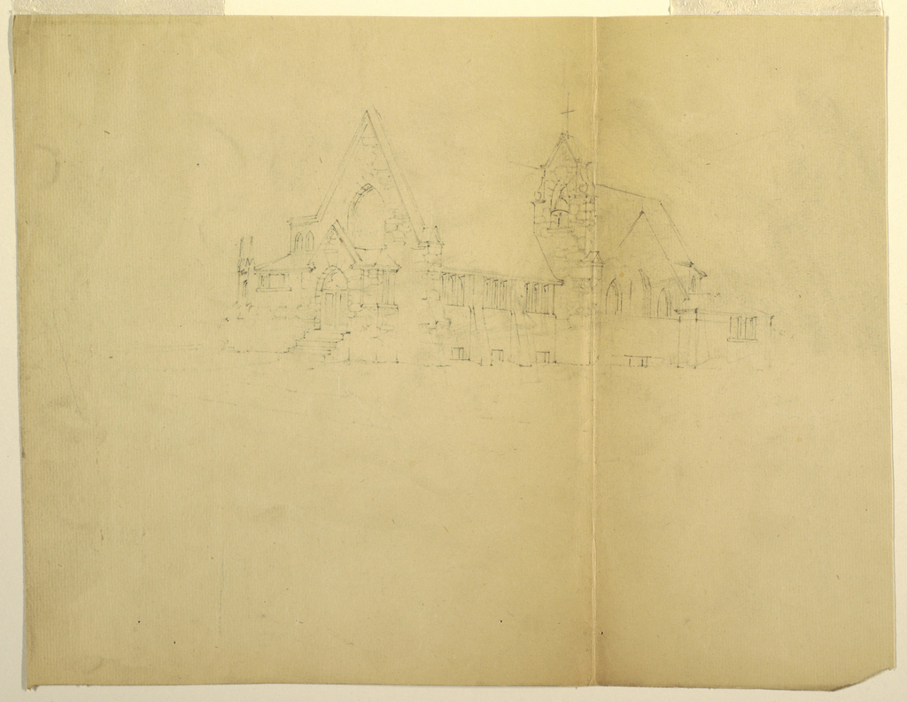 Design for a church with steeple and cross.