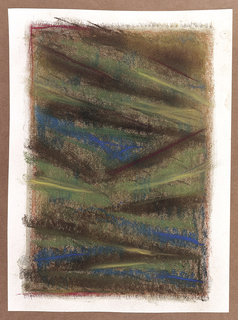 Abstract design of diagonal lines moving across the surface in brown, green and turqoise-blue.  Black chalk strokes suggest the fringes on the top and bottom of the rug.