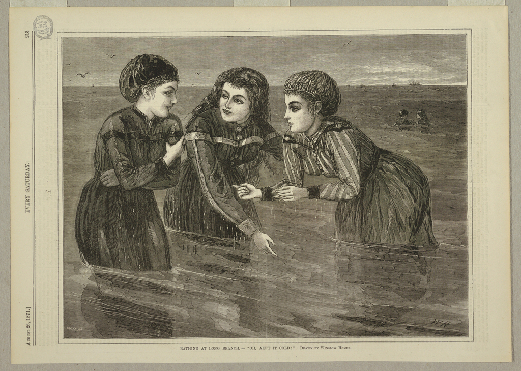 Horizontal view of three girls in bathing suits in the water, and an indication in the right distance of two more figures in the water.