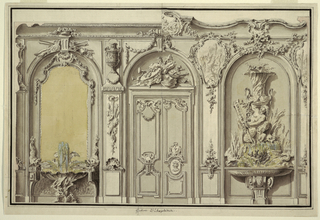 The left and right halves suggest different details. Three shallow niches. In the center is the folding door with a musical trophy as overdoor. At left: A fountain at the foot of a looking glass. At right: a fountain with two mermen and a flower vase. Boardering strip and line.