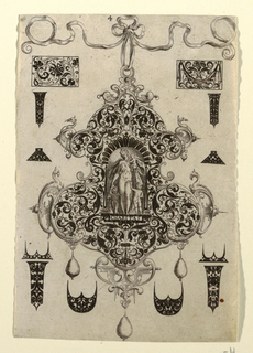 """Pendant design with scroll motifs and hanging pearls.  Central Image:  Figure of Charity next to a child and  Two Saints (?)   Inscribed below: """"CHARITAS"""".   Surrounding the pendant are blackwork ornament designs for enamelists, mostly showing possibilities for the top and sides of rings.   (Matted with 6161.1/3.2000)"""