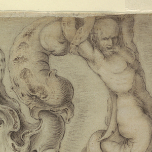 Vertical rectangle showing an ewer in the auricular style shown in profile. The uppermost part of the design is lacking. The handle consists of a merman and, seemingly, a mermaid leaning backwards toward him. Two panels with reliefs depicting children are shown on the left and right of the ewer's body. The shape of the relief on the left side of the ewer forms mimics the shape of a mouth. The shaft consists of a kneeling merman supporting the body like an Atlas.