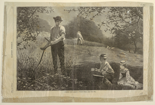 Horizontal view of an open field surrounded with apple trees.  In foreground, man with a scythe, standing, and boy and girl seated with pail of water.  In middle distance, man with a scythe, his back turned.  Trees beyond.