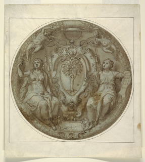 The tondo is centered with the armorial device of an oak tree on a heart-shaped shield framed by a strapwork escutcheon, the coat of arms of the Della Rovere family. Two allegorical figures are seated at right and left of the heraldic arms. The figure at right holds two tablets; the left tablet is written in Latin: LIBER / GENE / RATIONE /S / IESU / CHRI / STI; the right is in pseudo-Hebrew. The figure on the left holds a cross. Two putti above holding cords of a cardinal's hat which together with the escutcheon identify the patron Cardinal Giulio della Rovere (1535-1578). A wreath encricles the design.