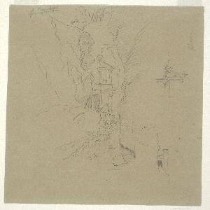 Drawing, El Khasneh from the Sik, Petra