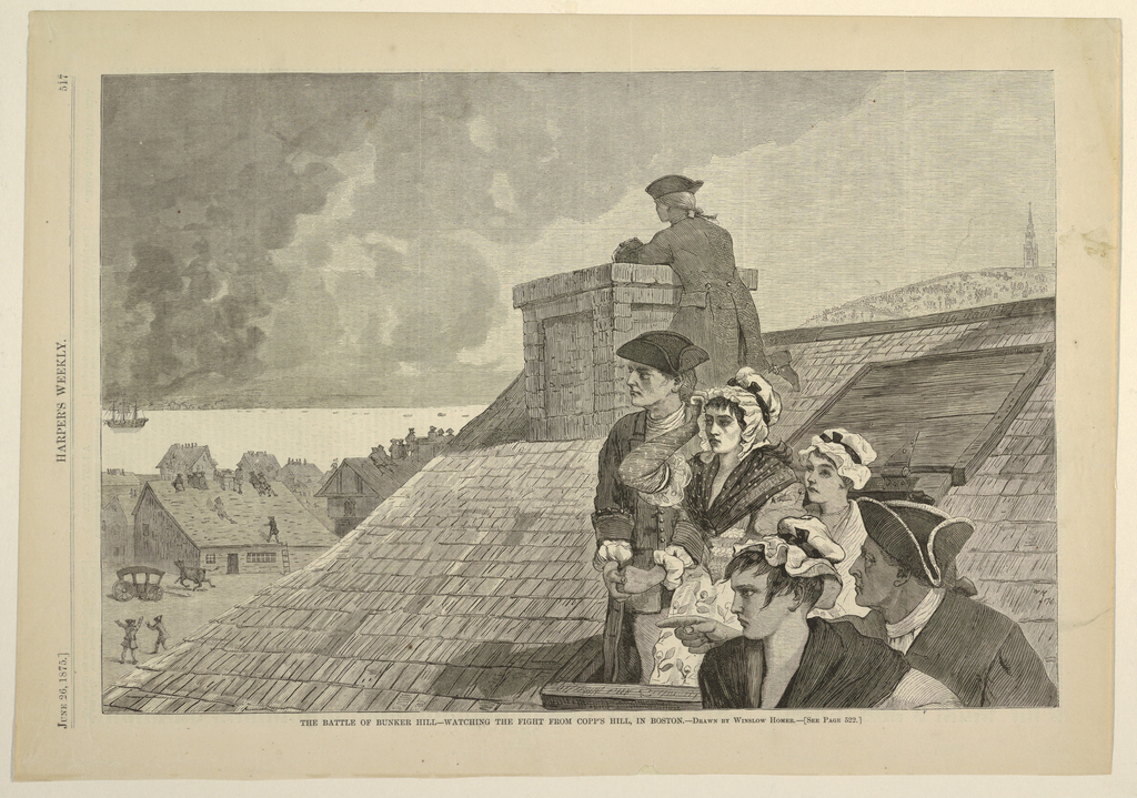 Horizontal view of people watching the battle of Bunker Hill from a trap door in the roof.