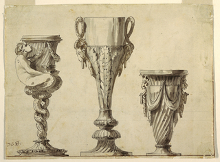Objects to be executed in gold or silver. At left: candlestick showing mermaid holding a socket. Her entwined fish body forms the stand. Center: a cup with handles formed by snakes above lion masks, body decorated with acanthus leaf design. At right: a fluted vase decorated with drapery festoons and two masks.