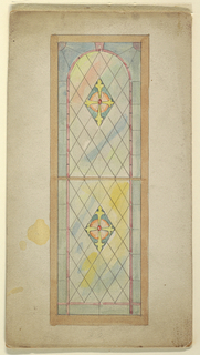 Design for stained glass window with leading in rhomboid pattern. Colorful border and center rhomboids containing yellow cross on pink circle and filled in with blue.