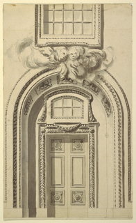 Arched doorway of church, two angel-like putti at top center. Paned window above. Rosettes decorate corners of door, bands of leaf design surround door swag above. Vertical shadow at left of door.