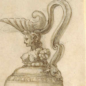 At left: design for bowl with swing handle. The handle, decorated with applied female forms, is formed by double arches that are connected in the middle by a ring and are hooked to each side of the bowl's rim between the horns of goats' heads. The bowl's body is ornamented with draped festoons, acanthus leaves and a central female mask with fan diadem. Lower center: Design for small ewer shaped as an armless, elongated female form: her head supports a shell spout; her lower body tapers at the base to a simple circular foot; the handle is formed by forward curving scrolls connecting to the shell and form's back. The body of a vessel is also  lightly sketched in the lower part of the design.  At right (larger in scale): Design for a ewer with neck formed by female torso; a shell spout rests upon her head. The body of  this vessel is relatively plain with bands of gadrooning at the bottom; the vessel rests upon a circular pedestal base; its handle is an elaborately-curved, ribbon-like scroll which connects the shell spout to the shoulder of vessel.  At lower right: Small sketch for variation of the ewer at the right.