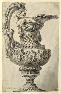 The image of the ewer takes up the entire sheet.  The ewer's decoration includes a half figure of a woman and a child positioned on the lower part of the handle, left, and a satyr and a woman on the rim.  Its entire surface is covered with floral and vegetal motifs.