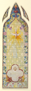 Design for pointed stained glass window with central section composed of yellow ovals, large four-petalled blossom in pink framed in red; pink dove at center; whole design framed by pink flowers with green leaves on blue ground.