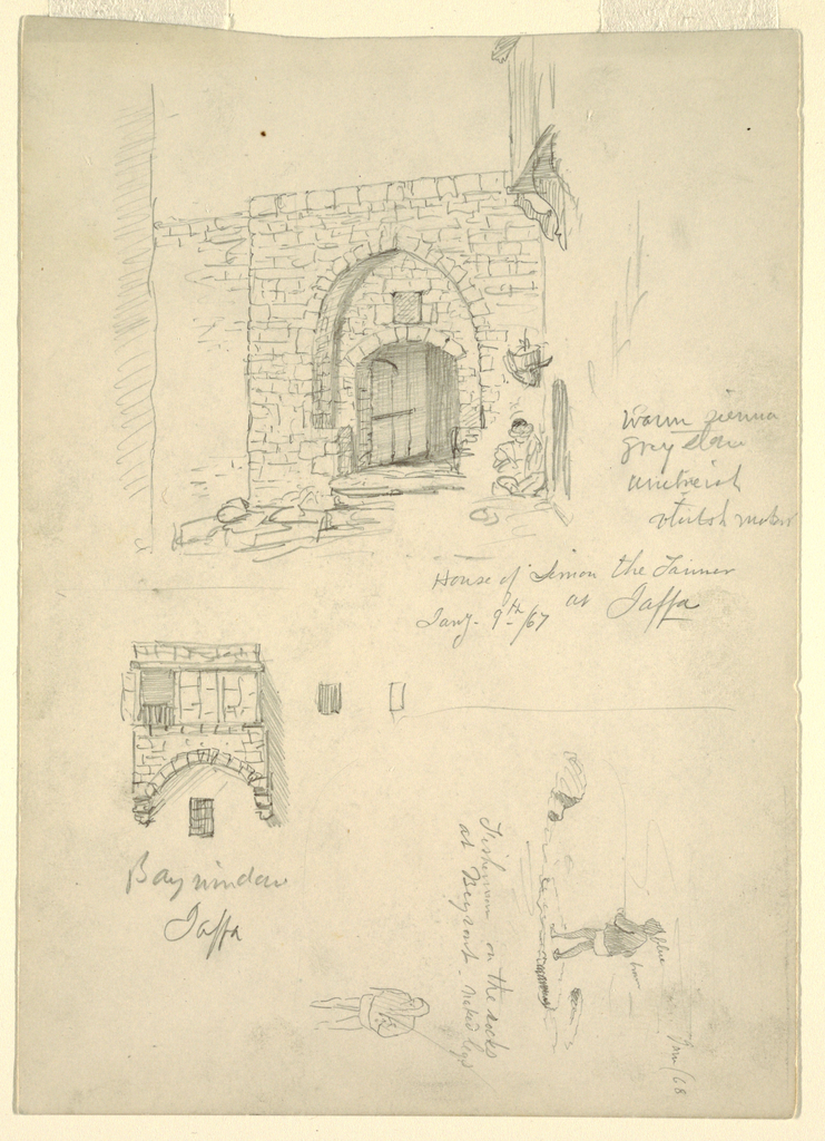 Horizontal view of the lower part of a house, standing on a corner of a street. The gateway shows two arches, the door is open and a man sits in the street in the corner beneath a device with a part of an adjoining house shown, at top of sheet; a group of projecting windows supported by an art, at bottom left of sheet; and a  fisherman shown from the left back stands upon rocks at the shore, with a walking fisherman shown beneath at the bottom right of sheet.
