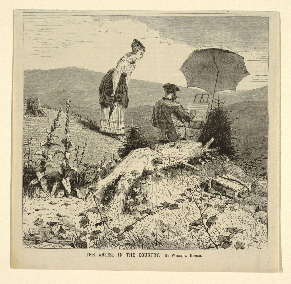 Artist with porkpie hat and mustache sits on a camp stool at a portable easel under a white umbrella.  A knapsack in the right foreground is evidence of the overland trek required to reach such a remote site in the White Mountain wilderness.  Well-dressed young lady watches artist at work.