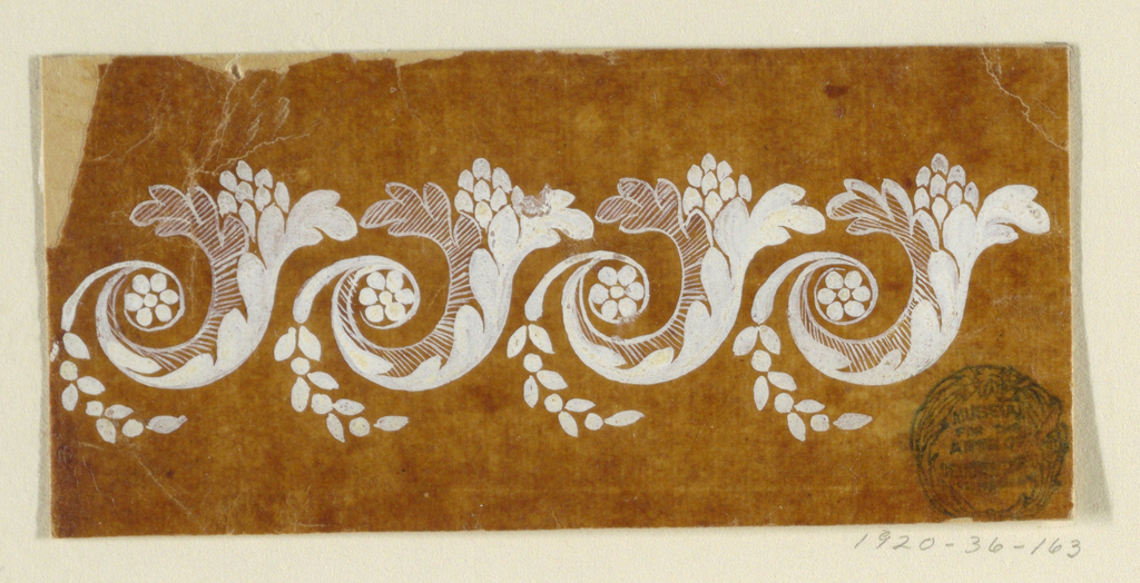 The repeat, four of which are shown, consists of a leaf scroll with a cone on top and a cluster of flowers curving downwards.