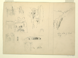 "Recto:  Horizontal view with a stripe separating at left, seven designs of tombs with architectural forms; two tombs cut in the rock; a rock with tombs and a view into a gulley with tombs; and at right, view of rocks.  Verso:  Views at top of two designs for upper parts of houses with caption ""copied from E. India photographs, and upper part of a man shouldering a long fishing rod, shown from the back."