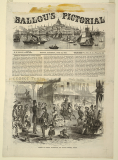 Illustration on first page of issue, showing a busy intersection with numerous figures and carriages.
