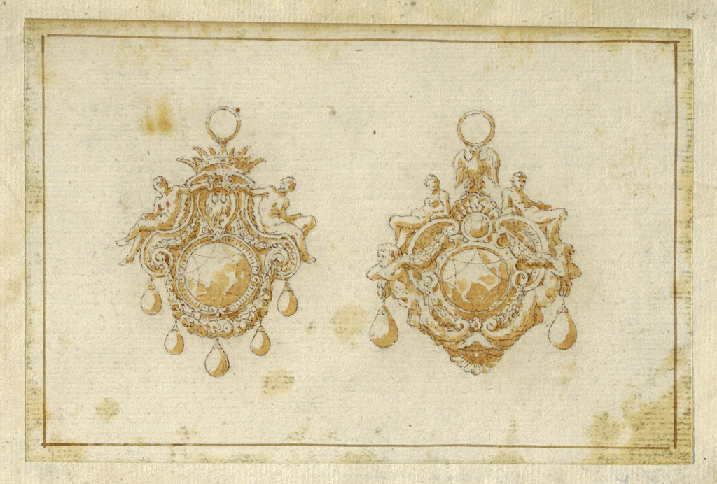 Drawing, Design for two pendants with crown and eagle