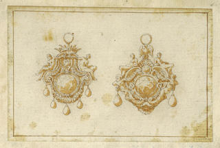Drawing, Design for two pendants with crown and eagle, 16th century