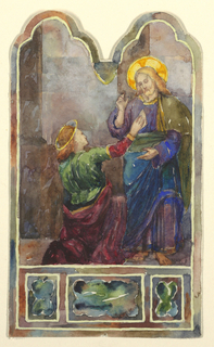 Peter kneeling reaching up to Christ who is standing, one arm raised.