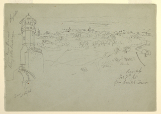 Recto:  Horizontal view of a tower rising behind a wall with a broken arch at left, a distant view of a town with a mountain range in the background. Verso:  Horizontal view of the slope of a hill with a Muslim shrine on top, left seen at the right of the sheet.
