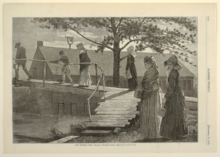 Horizontal view of a wooden foot-bridge leading over a stream and a group of people, all carrying pails, crossing it.  A girl at the extreme right turns to look at the spectator.  In the background a bell is ringing on the roof of a large house.