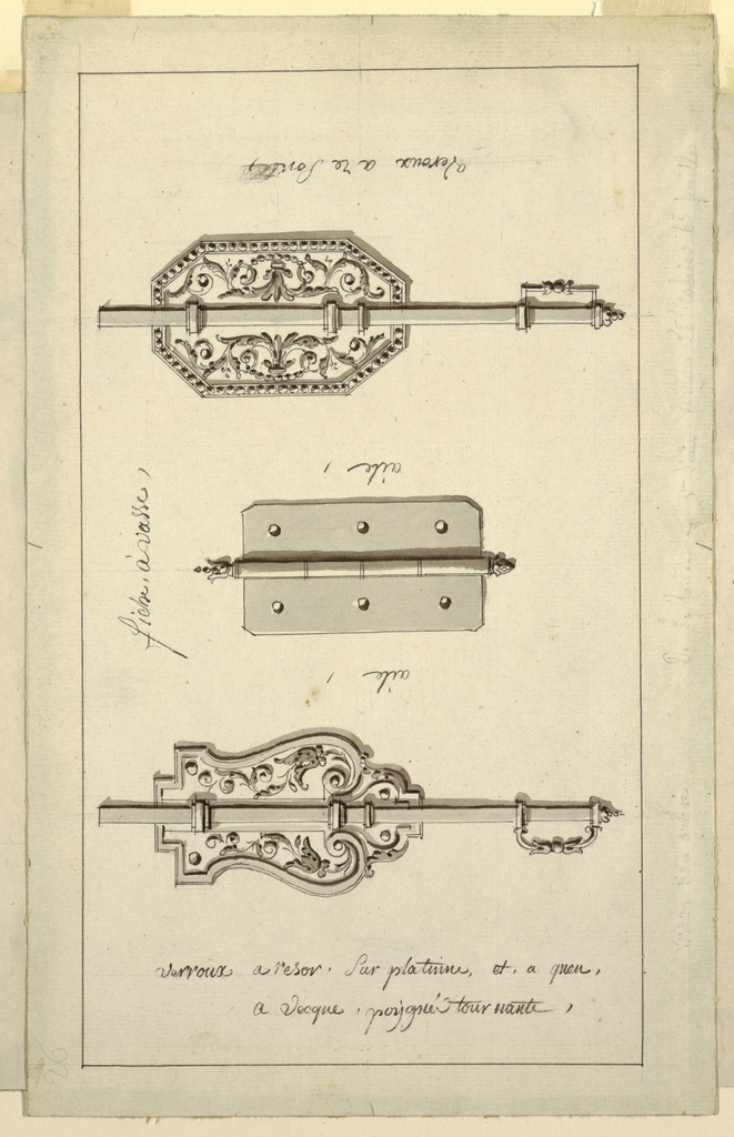 Upper bolt in shape of an octagonal escutcheon with rinceaux decor; lower bolt, same except for curved escutcheon; center, hinge has six holes.
