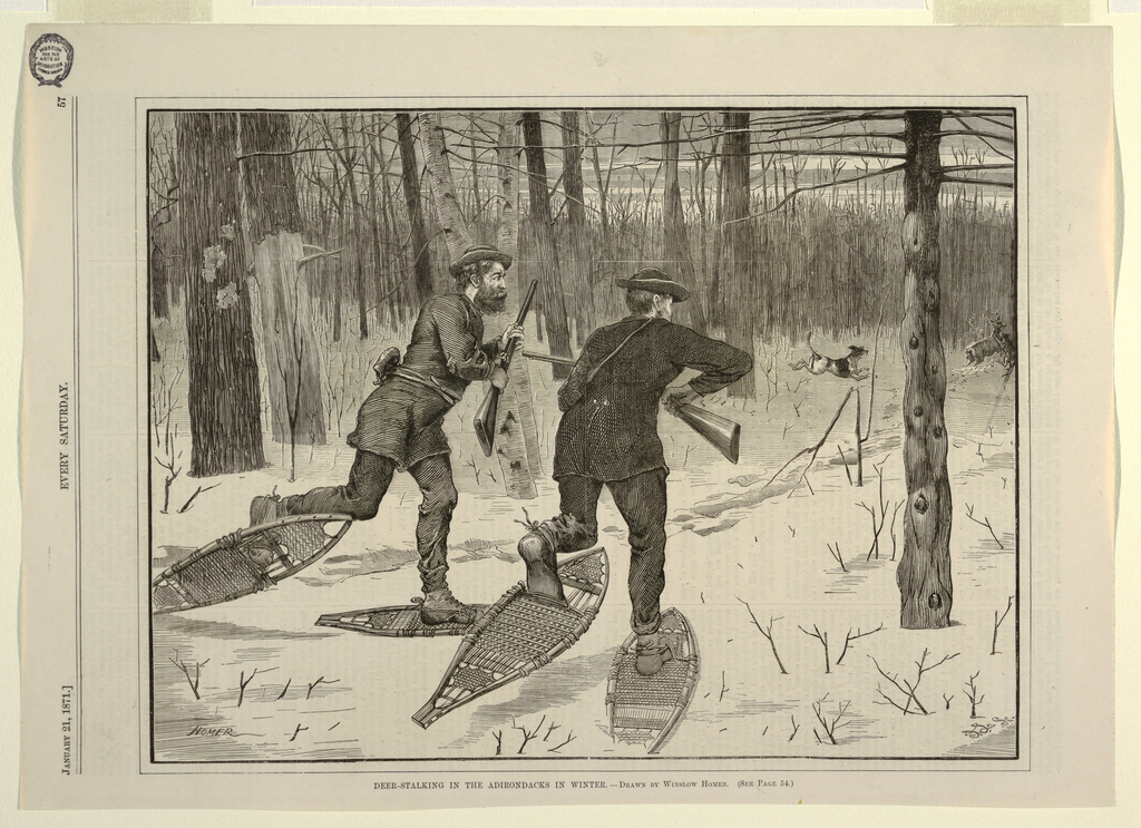 Horizontal view of a clear space in woods, with two men in foreground, centre and left centre, wearing snow-shoes and carrying rifles, moving toward antlered stag in middle distance, right, being attacked by dogs.