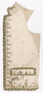 Waistcoat right front panel with standing collar, straight hem edge, and pocket welts in ivory silk. Embroidered in twelve colors of silk floss, with metal-wrapped silk threads, coils of metal wire, sequins, and paste jewels. Overall tiny floral sprig, small-scale floral border at center front, and a design of a blindfolded Cupid being driven by a bird. Trimmed with four color woven silk fringe.