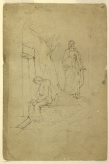 Christ standing on right coming towards a woman seated (Magdalen) on a platform; surrounded by suggested architecture.