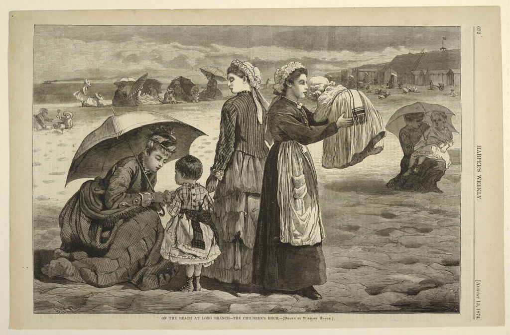 "Nurses and children on the beach.  In the left foreground, the toddler and infant's young mother appears to be saying goodbye to her children in order to join her ""social set.""  The children are being left under the supervision of the nanny and maid.  Information from Linda S. Ferber, Barbara Dayer Gallati and Marilyn S. Kushner, Winslow Homer: Illustrating America (New York, NY: George Braziller in association with the Brooklyn Museum of Art, 2000), p. 102."