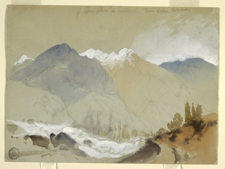 Recto: a trail in the foreground opens to a view of a valley with a rushing stream, leading to mountains in the distance. Verso: profile outlines of mountain.