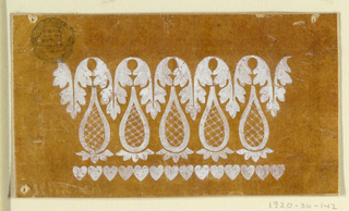 A row of hearts is at the bottom, a row of hanging leaves at the top, a row of lace buds over calyces in between.