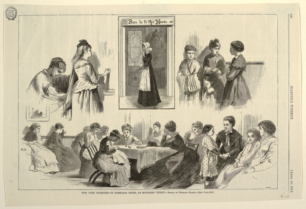 "Horizontal rectangle containting four vignettes: Upper left shows two young women, with one knocking at door marked: ""St. Barnabas""; upper center shows a woman wearing a cap and apron, and holding a key, framed by a doorway; upper right shows three women; and the lower shows a room with young women seated in groups, some about a center table."