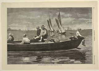 Horizontal view showing in the foreground seven boys sitting in and on dories moored side by side, while in the background a number of sailboats in full sail coursing through harbor.  Information from David Tatham's Winslow Homer and the Pictorial Press (Syracuse, NY: Syracuse University Press, 2003).