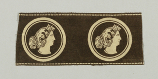 Fragment of a horizontal border has a black ground with two identical circular medallions enclosing a woman's head in profile. Neo-classical hair style is topped with a wreath of flowers.