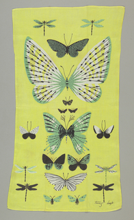 Butterflies and dragonflies, printed in yellow, green and black.