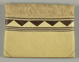 Two pouches open along their long side to slip inside each other in order to close. Pattern of black and white trianges decorates the outer pouch.
