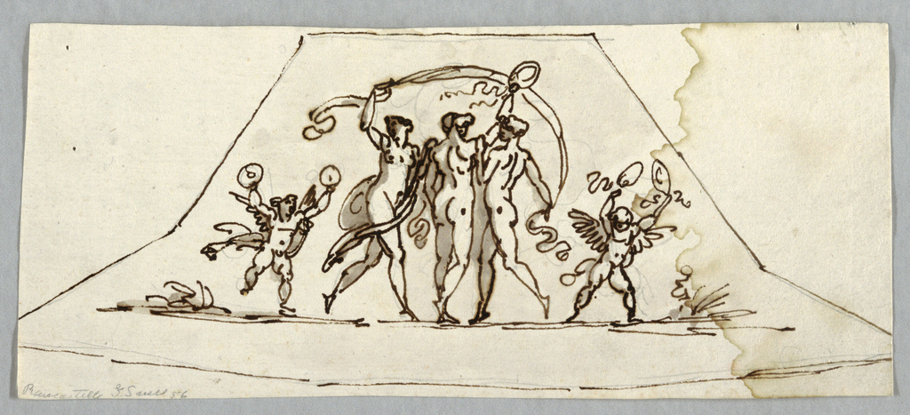 Three Graces and two cupids. Typical pose of Three Graces which shows two sporting veil, while central Grace shown with wreath. At left and at right, putti playing cymbals. On verso: graphite sketch of similar compartment. In center, woman sitting on pedestal. She is turned towards left and extends a thread supported by left hand of dancing girl, raising wreath.