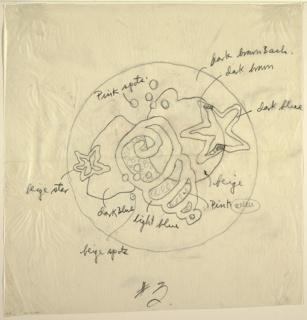 Drawing, Bathroom Rug Design: Sea, early 20th century