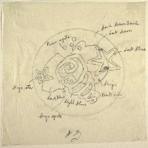 Drawing, Preliminary Sketch, Design for Black Bathroom Mat with Sea Motif