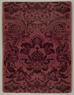 Symmetrical pattern of large flowers and foliage in wine red.