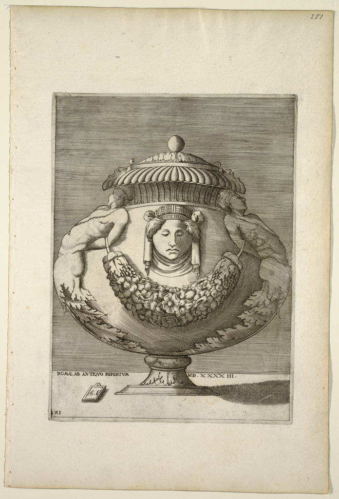 Print, Vase Decorated with Figures, Rinceaux, and Festoons