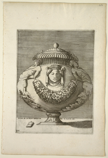 Vertical rectangle. Covered vase with bulbous body rests upon pedestal base. A ball finial, gadrooning and fluting are at top. Body decorated with a central female mask below which is a garland of fruits and flowers suspended by two half-figures located on each side whose bodies terminate in acanthus leaves.