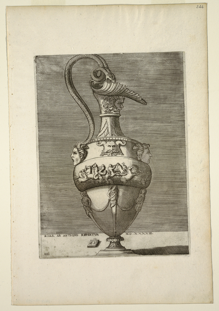 Design shows ewer with handle formed from two snakes and lip formed by a shell resting on a grotesque head. At center is a relief band showing a battle of seahorses and figures, with grotesque heads above and terms below.