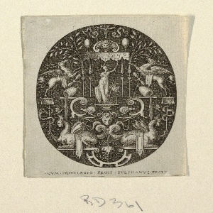 Vertical oval in rectangle showing a grotesque designs on a black ground. At center, under a baldacchino, is standing the divinity Athena surrounded by scrolls, fantastic creatures, vases, and fruits.