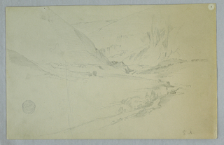 Horizontal view of a valley with a stream flowing through a mountainous landscape toward the central background.