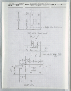 Drawing, Three views of bracket fo, ca. 1982