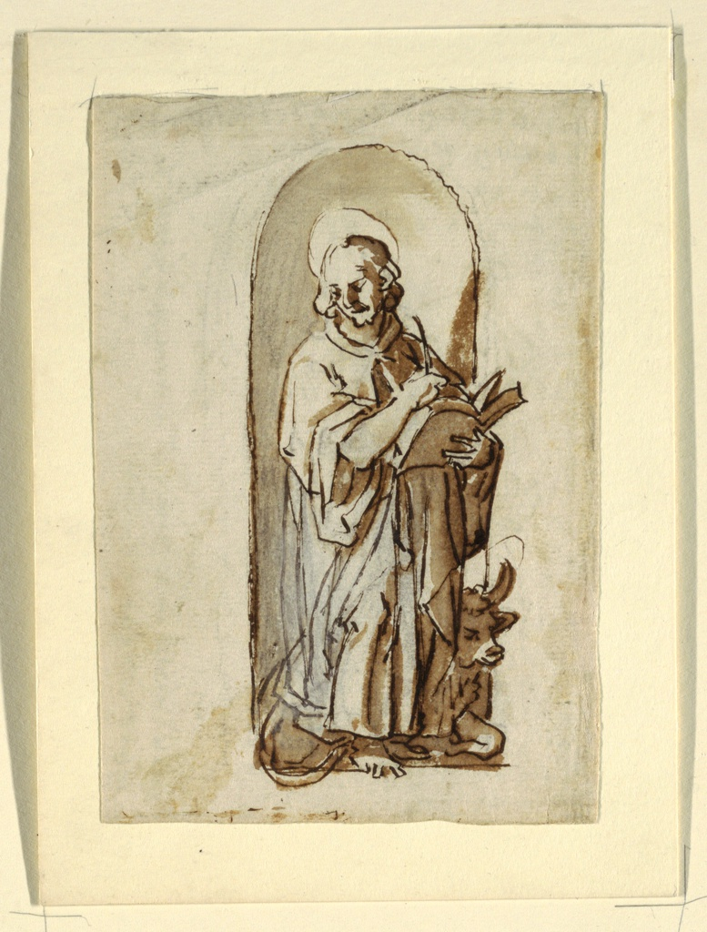"""Vertical rectangle.  The Apostle stands before a niche, thinking about what he will write next.  The Bull crouches behind him.  The left lower part of the coat shows the correction of a first design.  Verso:  """"B,"""" horizontally.  The bull runs towards left.  The putto flies beside him, holding his head.  Caption:  """"A and scribbling/ a fare col vise fra le corne e con lemane sula fronte che/ il toro vede lume corendo.""""  Notes vertically, on top: """"adi 18 dicembre bighest et fatken van/ 2 trellen tetrinken/ La di 14 di gennaio comencai a/ bere la bottade 4 borili e 1/2."""""""