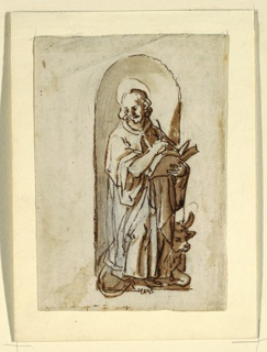 "Vertical rectangle.  The Apostle stands before a niche, thinking about what he will write next.  The Bull crouches behind him.  The left lower part of the coat shows the correction of a first design.  Verso:  ""B,"" horizontally.  The bull runs towards left.  The putto flies beside him, holding his head.  Caption:  ""A and scribbling/ a fare col vise fra le corne e con lemane sula fronte che/ il toro vede lume corendo.""  Notes vertically, on top: ""adi 18 dicembre bighest et fatken van/ 2 trellen tetrinken/ La di 14 di gennaio comencai a/ bere la bottade 4 borili e 1/2."""